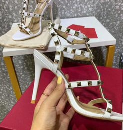 sexy t strap wedding shoes Canada - 20 hot women leather stud sandals T-strap sandal summer High Heels rivets shoes Ladies Sexy party shoes 8cm 10cm with box