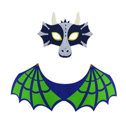 Cape Mask Sets Australia - Kids Dragon Dinosaur Wing Mask Set Boys Girls Halloween Christmas Dress Up Costume Full Face Masks Cape Props Party Supplies Felt Gifts