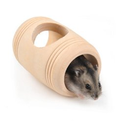 small wood house UK - Hamster Cask Nest Small Pets Wood Wo House Cabin Wooden Hamster Toys Drum