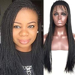 Discount lace front micro braid wigs Micro Million Twist Lace Front Wig #1B Natural Black Synthethic Heat Resistant Hair Braided Wigs Free Part with Baby Hai