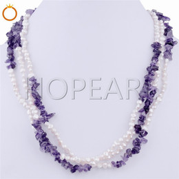three strands nugget white pearls with amethyst necklace freshwater cultured pearl fine jewelry gift new design on Sale
