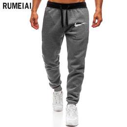 Discount wholesale pants for men - 2018 High Quality Jogger Pants Men Fitness Bodybuilding Gyms Pants For Runners Brand Clothing Autumn Sweat Trousers Brit