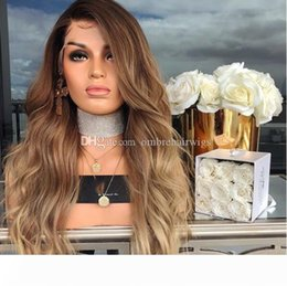 blonde body wave full lace UK - Natural Wave Glueless Ombre#1b 27 Lace Front wavy Human Hair Wigs peruvian Ombre Honey blonde Full Lace Human Hair Wigs For Black Women