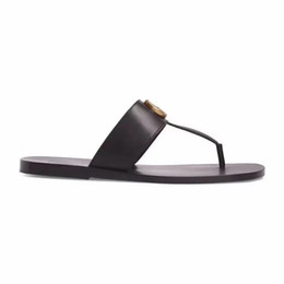 Wholesale fashion Black soft Leather Francis Thong Sandals mens and womens causal flat beach slip on sandals