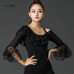 $enCountryForm.capitalKeyWord Australia - Ballroom Waltz Dresses Top Shirt Dance Competition Dresses Ballroom Dress Standard D0195 Tango Black with Bell Sleeve Ruffles