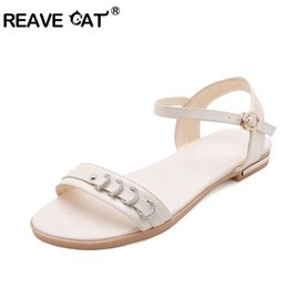 Cat Strap NZ - REAVE CAT Plus size 44 46 genuine leather sandals women flat shoes rhinestone ladies shoes cow leather Beach ankle strap