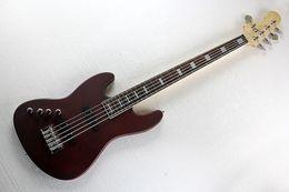 Benutzerdefinierte fabrik 5 string rotbraun links handy bass elektrische gitarre mit chrom hardware, kann angepasst werden