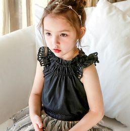 $enCountryForm.capitalKeyWord NZ - Sweet kids blouse girls ruffle collar lace hollow embroidery falbala fly seeve shirt chldren cotton princess tops white black