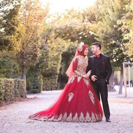 $enCountryForm.capitalKeyWord Australia - 2019 New Dark Red Lace Appliqued Muslim prom Dresses With Long Sleeves A-Line Beaded High Neck Sweep Train Tulle Plus Size Bridal Gowns