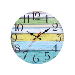 Antique Round Clock UK - Pastoral Round Shape Wall Clock Retro Household Bedroom Living Room Decor Hanging Wall Clock Bar Decoration without Battery