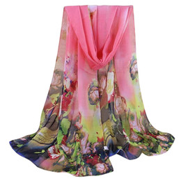 Girls Fashion Scarves UK - Fashion silk scarf Girl 5 Colors 160cm*50cm Chiffon Scarf Summer Floral Printing Shawls Scarves Silk Gift#YL