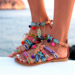 Lace up styLe sandaLs online shopping - Women Shoes Cross tied Sandals Bohemia Style Ankle strap Flip Flops Summer Flat Shoes Woman Ladies Shoes strappy Sandal VVA370