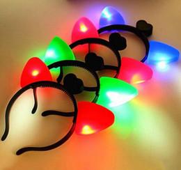 Glow Dark Hair Australia - Cat Ears Headband Plastic LED Light Up Head Hoop Glowing In The Dark Halloween Decoration Hair Band Cute