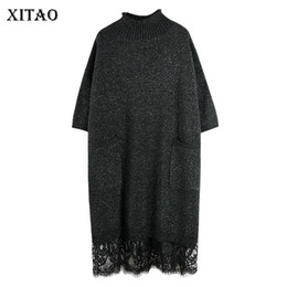 Wholesale korean style autumn clothing resale online – XITAO Lace Stitching Half Sleeve Knitwear Dress Women Fashion Loose Plus Size Ladies Dresses Korean Style Women Clothes GCC2539