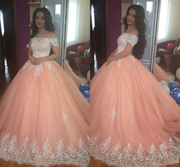 $enCountryForm.capitalKeyWord Australia - Sweet 16 Peach Quinceanera Dresses 2019 Off Shoulder Appliques Puffy Corset Back Ball Gown Princess 15 Years Girls Prom Party Gowns Custom