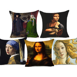 Linen chair covers online shopping - Mona Lisa Girl Portrait Oil Painting Europe Style Cushion Cover Throw Pillow Case Thick Cotton Linen Pillow Cover x45cm Sofa Chair Decor