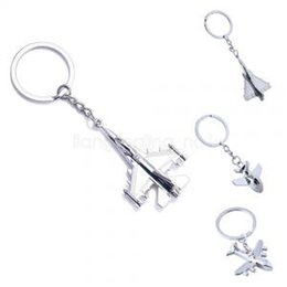 Silver Favor Bags Australia - Creative airplane Bag Key Chain Ring Car Man Keychain Key ring Mini Plane Model Keyfob Gift Keyholder party favor AAA1726