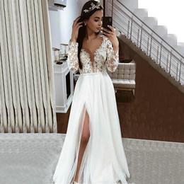 $enCountryForm.capitalKeyWord Australia - Elegant Boho Tulle White Wedding Dresses Long Sleeve Lace Appliques Side Slit Wedding Gowns 2020 New Ivory Country Beach Wedding Dress New
