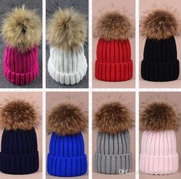 $enCountryForm.capitalKeyWord Australia - New Fashion Children Knitted Beanie Cap With Big Fur Pompoms Kids Girls Boys Crochet Hat Soild Winter Warm Headwear Baby Headgear A157