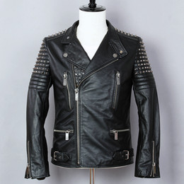 $enCountryForm.capitalKeyWord Australia - 2018 Fashion Punk Style Metal Rivet Motorcycle Jacket Men Cowskin Genuine Leather Jacket Black Slim Turn-down Collar Biker Coat