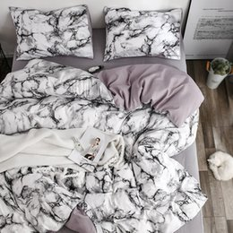 white single beds Australia - White Marble Pattern Bedding Sets Duvet Cover Set 2 3pcs Single Queen King Size Bed Linen Quilt Cover (No Sheet No Filling)