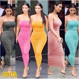 93285d0015 Summer Dress Long Tube Top Dress Sexy Women Strapless Slim Stretch Bodycon  9 Colors Women's Clothing Vestidos De Festa Ha39 Y190425