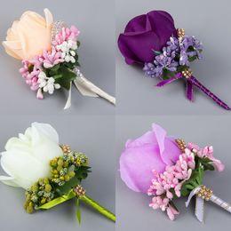 $enCountryForm.capitalKeyWord Australia - Artifical Silk Rose Flowers Wedding Groom Man Brooch For Weddings Guest Party Wear Decoration Bridal Corsage Accessories Supplies Cheap F640