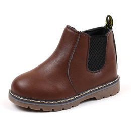 Wholesale fashion dresses for boys resale online - Autumn Winter Boys Martin Boots Kids PU Leather Sneakers for Girls Dress Ankle Boots Zipper Boots Fashion England Style Children Shoes