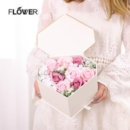 $enCountryForm.capitalKeyWord Australia - Drawer Heart-shaped Holiday Gift Box Soap Flower Valentine's Day Gift Creative Rose Flower Scented Soap Bath Body Petal Perfumed Soaps