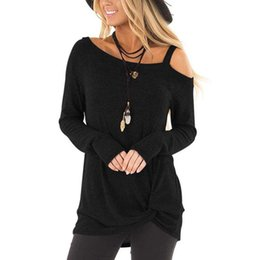 dfd4d823837 New Autumn Women Sexy Blouse Off Shoulder Long Sleeve Knotted Ruched Shirt  Solid Color Cold Shoulder T-shirt Casual Long Tops