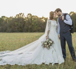 $enCountryForm.capitalKeyWord UK - New A-line Luxury Modest Wedding Dresses With Half Sleeves Jewel Lace Top Cathedral Train Lds Bridal Gowns Couture Custom Made