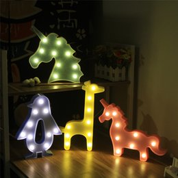 Baby Figures Australia - New Hot LED Night Lights Baby Unicorn Lights Flamingo Crown Christmas Tree Cartoon Animal Children Toys Gifts Home Decoration Lights