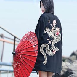 77118452f09 Harajuku Japanese Kimono Cardigan 2019 Vintage Novelty Summer Cherry Dragon  Embroidery Chiffon Sun Protection Women Clothing Y190510
