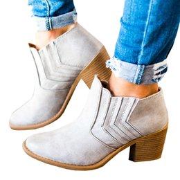 $enCountryForm.capitalKeyWord NZ - Autumn Spring Fashion Women Chunky Heel Boots High Heels Platform Ankle Booties Black Gray Leather Ladies Shoes Plus Size 43