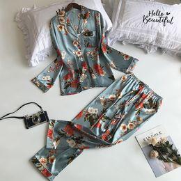 Bell Patterns Australia - Lisacmvpnel Autumn Printing Pattern Pajama Set Rayon Sleepwear Long Sleeve 2 Pcs Pajamas For Women J190613