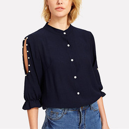 Pearl Blouses Shirts Australia - Women Spring Autumn Blouse Shirt Half Sleeve Casual Stand Collar Off Shoulder Pearl Elegant OL Blouses Tops 6Q1581