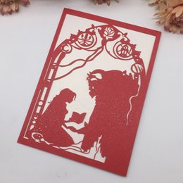 $enCountryForm.capitalKeyWord Australia - 30PCS Beauty And Beast Theme Wedding Invitation Card Engagement Invitations With Hollow Laser Cut Nice Children's Day Gifts Cards