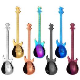 venda por atacado Aço inoxidável guitarra colher de sobremesa guitarra Spoon Coffee mistura colheres de sobremesa colher de sorvete Cafe Acessórios
