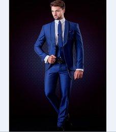 Images Fashionable Suits Australia - Fashionable One Button Groomsmen Shawl Lapel Groom Tuxedos Men Suits Wedding Prom Dinner Best Man Blazer(Jacket+Pants+Tie+Vest) 511
