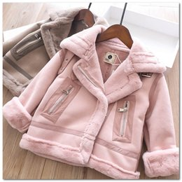 princess line winter long coats UK - Girls fleece coat kids metal buckle lapel long sleeve princess outwear children overcoat fall winter kids velvet thicken warm clothes J0626