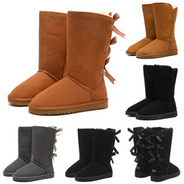 Buckle ankle Boots online shopping - Snow Winter Boots Classic Australian Women Bailey Bowknot Tall Designer Ladies Girl Booties Over the Knee Thigh High Boot