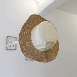 Sunny Hats Australia - Japanese Cotton Cloth Stitching Big Hat Female Korean Wind Foldable Hollow Sunny Straw Seaside Sunscreen Beach Hat