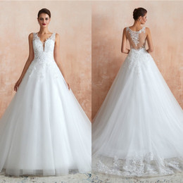 Discount wedding dresses for african brides Lace Wedding Dresses 2020 V-Neck Outdoor Garden Sheer Tulle Plus Size Ball African Country Arabic Sexy Wedding Gowns For Bride