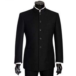 Wholesale men s mandarin collar suit resale online - 2018 Brand Men Suits Big size Chinese Mandarin Collar Male Suit Slim Fit Blazer Wedding Terno Tuxedo Pieces Jacket Pant T200303