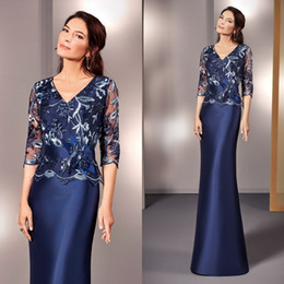 $enCountryForm.capitalKeyWord Australia - Navy Blue Satin Mother Of Bride Dresses V Neck Tulle Long Sleeves Appliques Mother's Dresses Floor Length Women Prom Gowns For Wedding