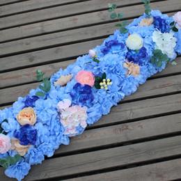 Discount led wall mounts - Artificial Road Flower Row Silk Flower Hydrangea Peony Rose Flowers Wedding Arch Road Lead Home Hotel Party DIY Decor