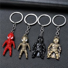 Square Figure Australia - 17 styles Classic Iron Man Pendant Keychain The avengers alliance LED keychain Mini PVC Action Figure with LED Light & Sound keyring jssl001