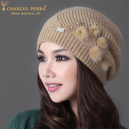 knit beanies brim NZ - Charles Perra Women Hats Winter Thicken Double Layer Rabbit Hair Knitted Hat Elegant Casual Wool Cap Female Beanies 2010 Y200102