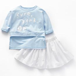 Quarter Suits Australia - Ins baby girls clothes suit three-quarter sleeve tshirts skirt tops 1-6Y kids cotton set blue white 2pieces mix order new fashion