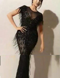 $enCountryForm.capitalKeyWord Canada - Evening dress Yousef aljasmi Labourjoisie Zuhair murad Sheath Jewel Short Sleeve Black Tassels Sequins Tulle Long Dress James_paul
